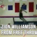 怪物高校生のザイオン・ウィリアムソンがフリースローラインからのダンクを披露